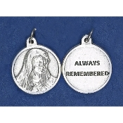 "100/Pc Round Prayer Medal Lady of Sorrows Silver Tone BULK Italy 3/4""-Premium Italian made medals Genuine SILVER OXIDIZED Finish..Double sided Silver Toned Medal featuring Mater Dolorosa on one side and ""Always remembered"" on the other."