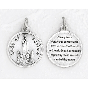 "24/Pc Round Prayer Medal Our Lady of Fatima Silver Tone BULK Italy 3/4""-Premium Italian made medals Genuine SILVER OXIDIZED Finish..Prayer Medals: Prayer on Back Side. This exceptionally detailed die-cast is made in the region of Italy that..."