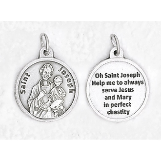 "24/Pc Round Prayer Medal Saint Joseph Silver Tone BULK Italy 3/4""-Premium Italian made medals Genuine SILVER OXIDIZED Finish..Prayer Medals: Prayer on Back Side. This exceptionally detailed die-cast is made in the region of Italy that..."