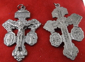 "3/Pc 3-WAY Pardon Crucifix St Benedict/Miraculous GunMetal 2"".Our Deluxe Pardon Crucifixes are known for the most Beautiful intricate designs- --Rosary making parts Necklace-"