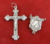 "DIY Premium Rosary Set Centerpiece USA and Crucifix ITALY-Our Deluxe Rosary Parts are known for the most Beautiful intricate designs. 1 Sterling Silver Our Lady of Sorrows Centerpiece 0.7"" 1 Genuine Silver Oxidized Holy Trinity Crucifix 1 3/8"""