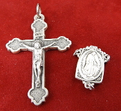 DIY Premium Rosary Set Centerpiece USA and Crucifix ITALY-Our Deluxe Rosary Parts are known for the most Beautiful intricate designs. 1 Sterling Silver Miraculous Rosary Centerpiece 1 Premium Genuine Silver Oxidized traditional Style Crucifix