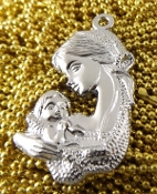50/Pc Blessed Mother Holding Jesus Bright Silver finish Medal 1 1 /4""