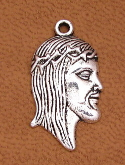 "Antique Silver Finish Ecce Homo Holy Thorns Charm 7/8"" Italy Holy Jesus medal as low as $0.39 each"