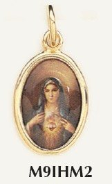 "Immaculate Heart of Mary Gold Plated medal Color 7/8"" oval Italy"