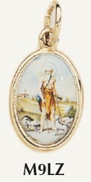 "Saint Lazarus Medal Gold Plated Color Picture 7/8"" oval Italy"