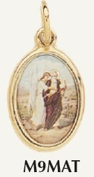 "Saint Matthew Medal Gold Plated Color Picture 7/8"" oval Italy"