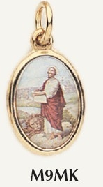 "Saint Mark Medal Gold Color Picture 7/8"" oval charm Italy"