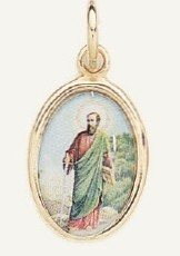 "Saint Paul the Apostle Medal Gold Plated Color Picture 7/8"" oval"