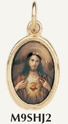 "Sacred Heart of Jesus Gold Plated charm Color Picture 7/8"" Italy"