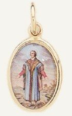 "Saint Thomas More Medal Gold Plated Color Picture 7/8"" oval"