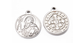 100% Stainless Steel Tiny Saint Benedict medal 1.4cm Round- Necklace pendant