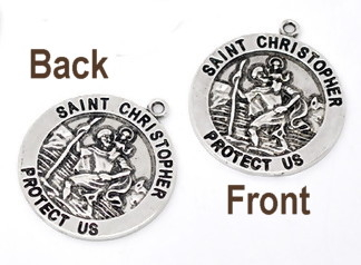 Round Saint Christopher Medal Double Sided Antique Silver LARGE 1 1/8""