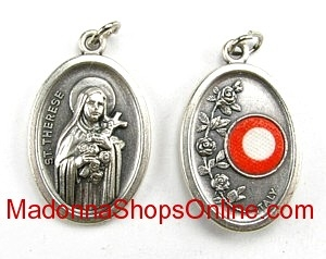 St Therese Relic Medal 3rd class Silver Oxidized Medal